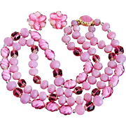 Vintage West Germany Pink Double-Strand Lucite Acrylic Beaded Necklace & Earrings Set