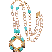 Judith McCann Bold Pendant/Brooch Necklace with Peking Glass Beads & Glass Pearls 1960s Vintage