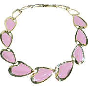 Napier Vintage Bold Link Pink Enamel Abstract Heart Necklace 1970-1980