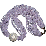 Hobé Lavender-Pink Glass Seed Bead Multi-Strand Necklace with Mother-of-Pearl Focal Vintage Signed Torsade