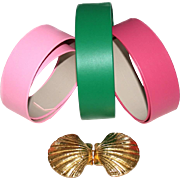 Mimi di N Vintage Seashell Belt Buckle Set with 3 Belt Strips 2""