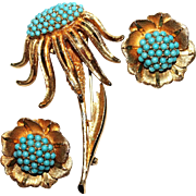 BSK Vintage Pin/Brooch & Earrings Set Turquoise Beaded Coneflower Signed
