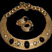 Designer Signed CRAFT Vintage Curved Necklace & Earrings Statement Set 1980s New Old Stock