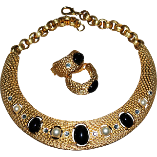 Designer Signed CRAFT Vintage Curved Necklace & Earrings Statement Set 1980s New Old Stock
