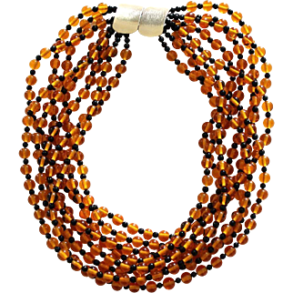 Vintage Jay Feinberg (Strongwater) Early Signed Multi-Strand Amber Glass & Black Lucite Bead Necklace
