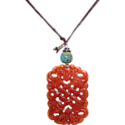 Vintage Double Carved Celluloid Faux Jade Pendant Necklace Asian Theme on Leather Cord