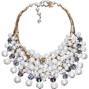 Signed Vendome Cascading Glass Bead & Pearl Opulent Bib Necklace with Faceted Crystals