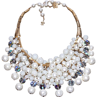 Signed Vendôme Cascading Glass Bead & Pearl Opulent Bib Necklace with Faceted Crystals