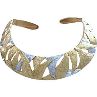 1990s Chic Kate Spade Vintage Collar Necklace Silver-and-Gold-Tone Metal