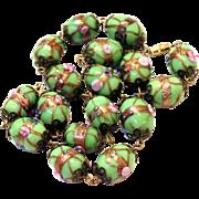 Vintage Old Venetian Adventurina Handmade Wedding Cake Glass Bead Necklace