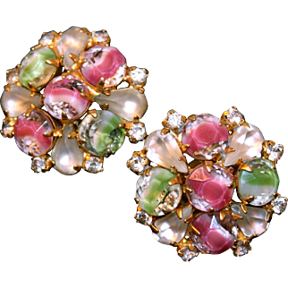 Vintage Hobé Pink & Green Givré Art Glass and Rhinestone Earrings Old Mark