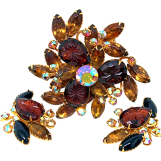 Vintage Beaujewels Topaz Aurora Borealis Rhinestone Pin/Brooch & Signed Earrings Set with Carved Glass Stones