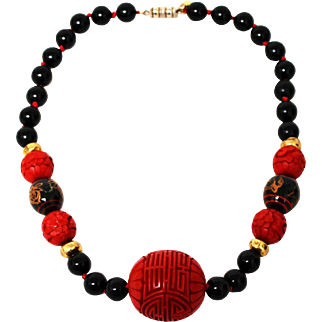 Vintage Les Bernard Asian Inspired Necklace with Cinnabar and Lacquer Beads