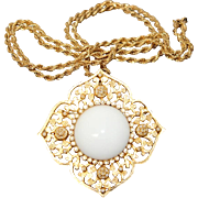 Vintage DeNicola Intricate Gold-Plated Brooch/Pin/Pendant with Milk Glass Cabochon, Faux Seed Pearls and Diamante