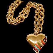 Vintage D'Orlan Bijoux Paris Multi-Color Jeweled Heart Pendant and Chain