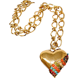 Vintage D'Orlan Bijoux Paris Multi-Color Jeweled Heart Pendant and Chain