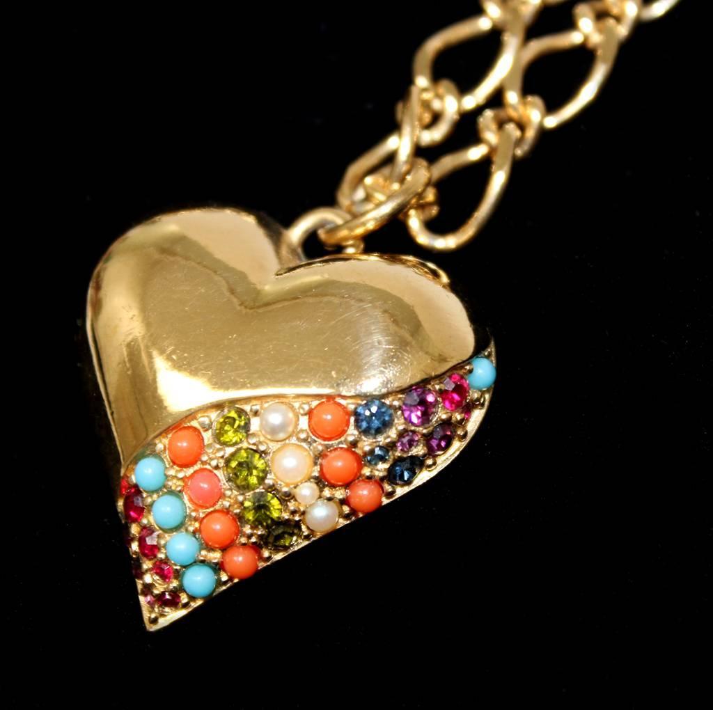 Friperie Bijoux Vintage Paris : Vintage d orlan bijoux paris multi color jeweled heart