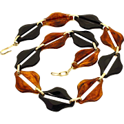 Vintage Mid-Century Modernist Bold Amber & Black Lucite Link Necklace West Germany