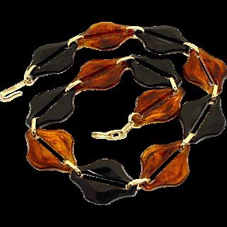 Vintage Mid-Century Modernist Bold Amber & Black Lucite Link Necklace West Germany