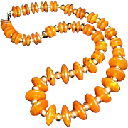Kenneth Jay Lane Egyptian Style Lucite Disc & Faux Amber Necklace