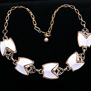 Vintage 1950s -1960s White Thermoset Lucite Gold Tone Collarbone or Choker Necklace