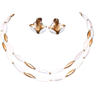 Art Deco Style Mother-of-Pearl & Brushed Gold Tone Necklace & Omega Earring Set Signed Napier