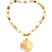 Artisan Crafted Natural Yellow Opal & Jade Beaded Necklace
