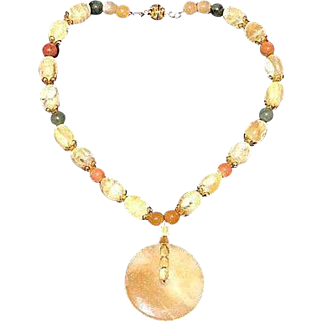 Artisan Crafted Natural Tumbled Yellow Opal and Nephrite Jade Beaded Necklace with Jade Disc Pendant