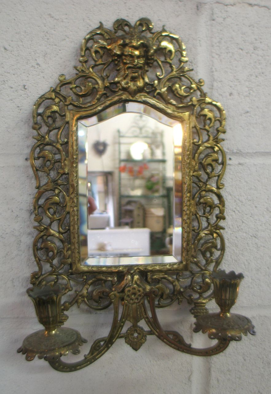 Gold Painted Metal Wall Sconce with Mirror and Two Candle Holders and SOLD on Ruby Lane