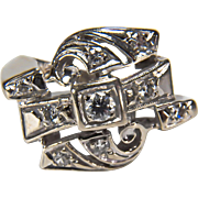 Art Deco Geometric Design!  14K White Gold and Diamond Cocktail Ring