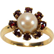 Cultured Pearl and Rose Cut Garnet 14K Yellow Gold Ring