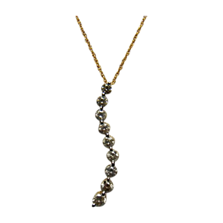 Diamond (0.87 Carat) Journey Pendant 14K Yellow Gold Necklace