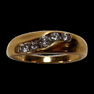 Vintage Unisex 14K Yellow Gold Channel Set Diamond (0.47 TCW) Wedding Band