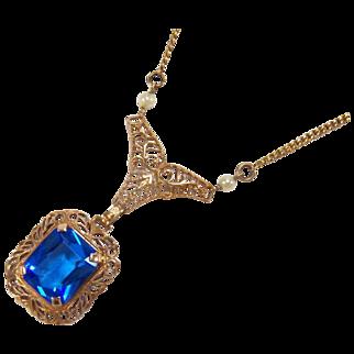 Vintage 10K Rose Gold Blue Glass Stone Necklace