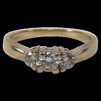 Beautiful Diamond (0.45 TCW) Trilogy 14K White Gold Engagement Ring