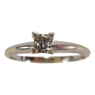 Classic Princess Cut Diamond (0.25 Carat) Solitaire 14K White Gold Ring