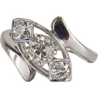 Stunning 0.72 Carat Diamond Art Deco Old Mine Cut 14K White Gold Engagement / Stacking Ring