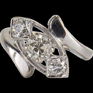 Beautiful 0.72 Carat Diamond Art Deco Three Stone Old Mine Cut 14K White Gold Engagement / Stacking Ring
