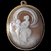 Victorian 10k Yellow Gold Goddess and Cherub Shell Cameo Pin/Pendant.
