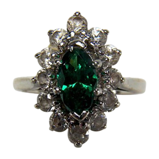 Marquise Cut Synthetic Emerald and White Quartz 14K White Gold Ring