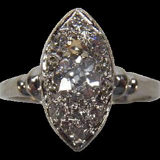 0.93 Carat Old European Cut Diamond Navette 14K White Gold Ring