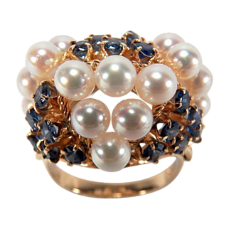 Large 1960s Vintage Cultured Pearl and Sapphire 14K Yellow Gold Cocktail Ring