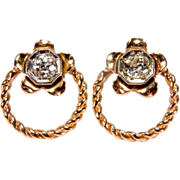 0.50 Carat 14K Rose Gold Old Mine Cut Diamond Earrings With Floral Design