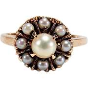 Vintage Cultured Pearl 10K Yellow Gold Cluster Ring