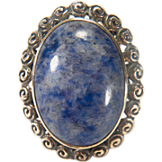 Large Sterling Silver Blue Agate Stone Ring