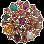 Vintage 14K Yellow Gold Princess Gemstone Ring
