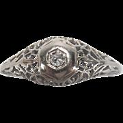Art Deco Diamond 14K White Gold Filigree Engagement Ring