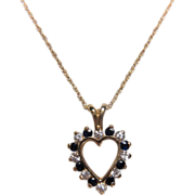 Estate 10K Yellow Gold DIamond and Sapphire Heart Necklace