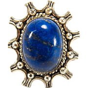 Estate Sterling Silver Large Lapis Cabochon Ring