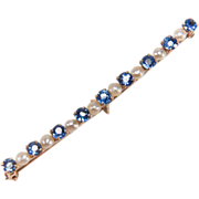 Antique Blue Spinel and Seed Pearl 14K Yellow Gold Bar Pin